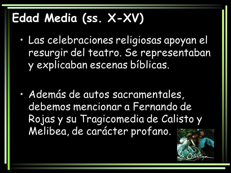 Edad Media (ss. X-XV) Las celebraciones religiosas apoyan el resurgir del teatro. Se representaban y explicaban escenas bíblicas. Además de autos sacr
