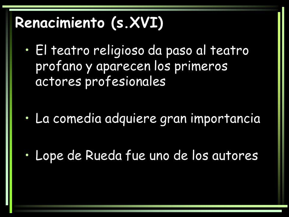 Renacimiento (s.XVI) El teatro religioso da paso al teatro profano y aparecen los primeros actores profesionales La comedia adquiere gran importancia