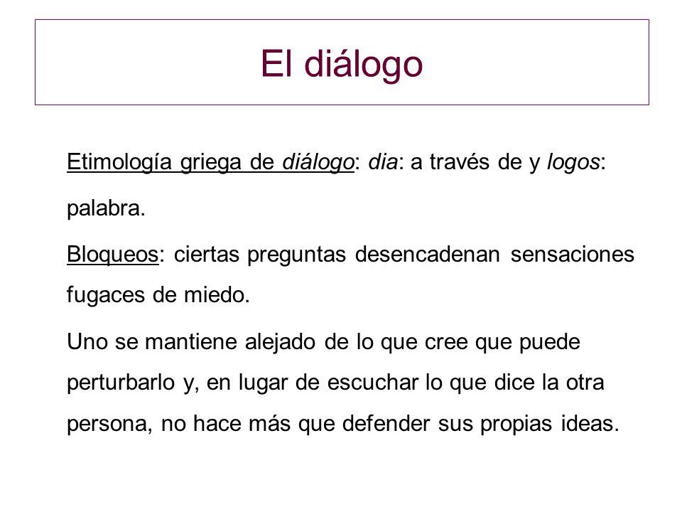 El diálogo Etimología griega de diálogo: dia: a través de y logos: palabra.