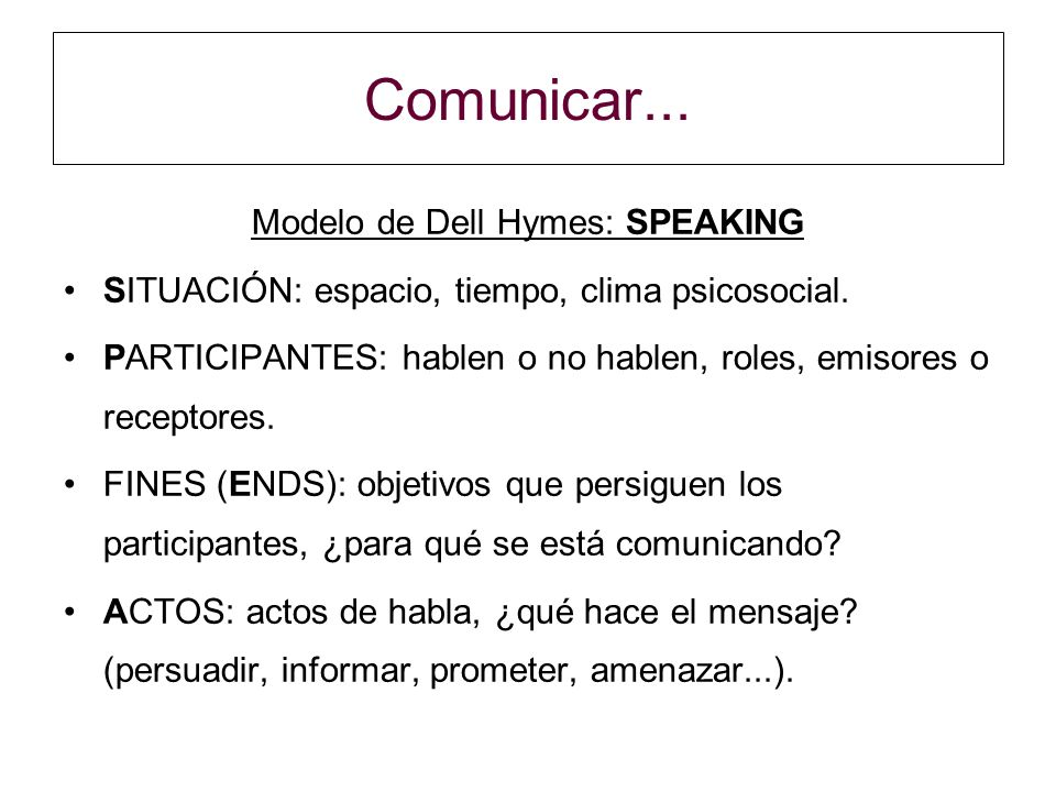 Comunicar...Modelo de Dell Hymes: SPEAKING SITUACIÓN: espacio, tiempo, clima psicosocial.