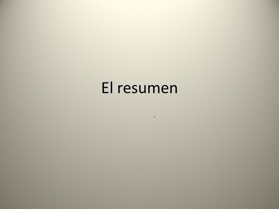 El resumen. 07/11/20131