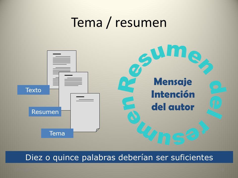 Tema / materia 07/11/201317 Materia Tema Asunto general del que se trata Etiqueta genérica con que se podría catalogar algo Enunciado sólo aplicable a