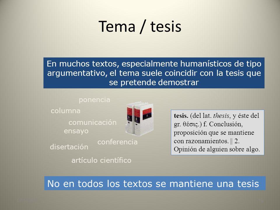 Tema / resumen 07/11/201318 Mensaje Intención del autor Diez o quince palabras deberían ser suficientes Texto Resumen Tema