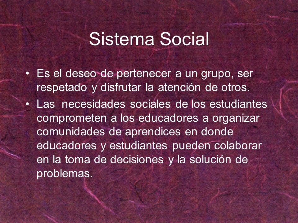 Sistema Social Es el deseo de pertenecer a un grupo, ser respetado y disfrutar la atención de otros. Las necesidades sociales de los estudiantes compr