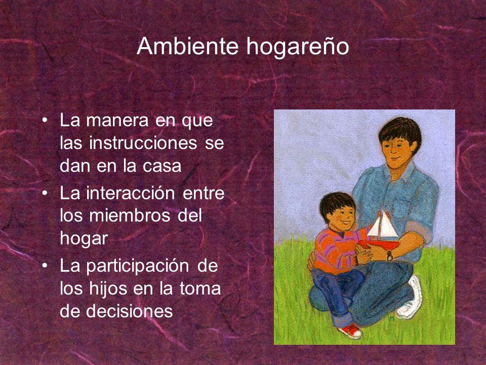 Ambiente hogareño La manera en que las instrucciones se dan en la casa La interacción entre los miembros del hogar La participación de los hijos en la