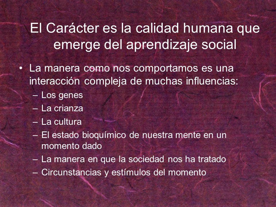 El Carácter es la calidad humana que emerge del aprendizaje social La manera como nos comportamos es una interacción compleja de muchas influencias: –