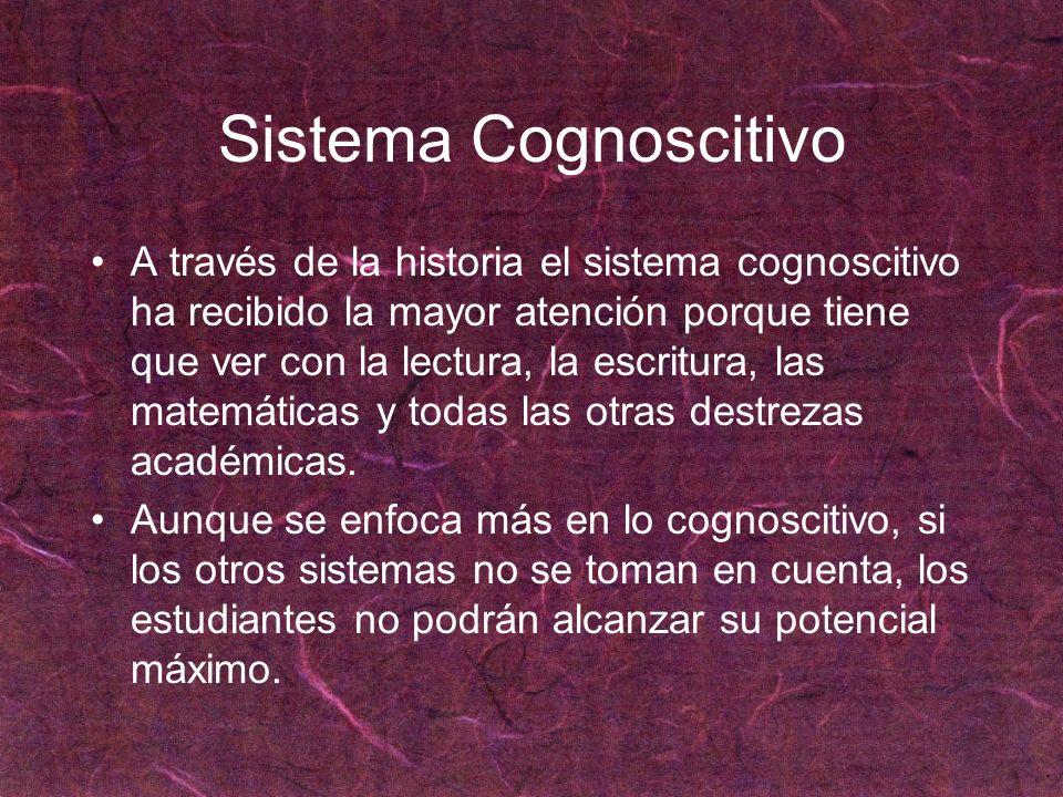 Sistema Cognoscitivo A través de la historia el sistema cognoscitivo ha recibido la mayor atención porque tiene que ver con la lectura, la escritura,