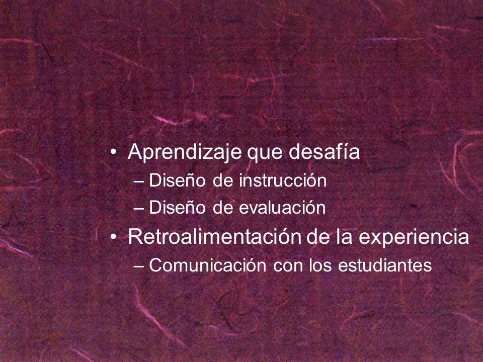 Aprendizaje que desafía –Diseño de instrucción –Diseño de evaluación Retroalimentación de la experiencia –Comunicación con los estudiantes