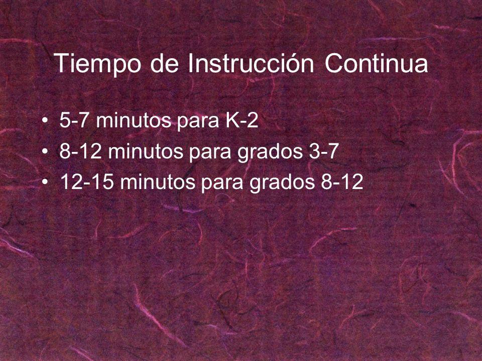 Tiempo de Instrucción Continua 5-7 minutos para K-2 8-12 minutos para grados 3-7 12-15 minutos para grados 8-12