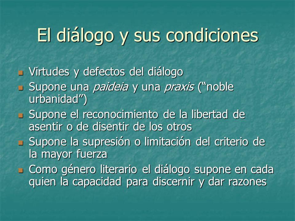 El diálogo y sus condiciones Virtudes y defectos del diálogo Virtudes y defectos del diálogo Supone una paideia y una praxis (noble urbanidad) Supone