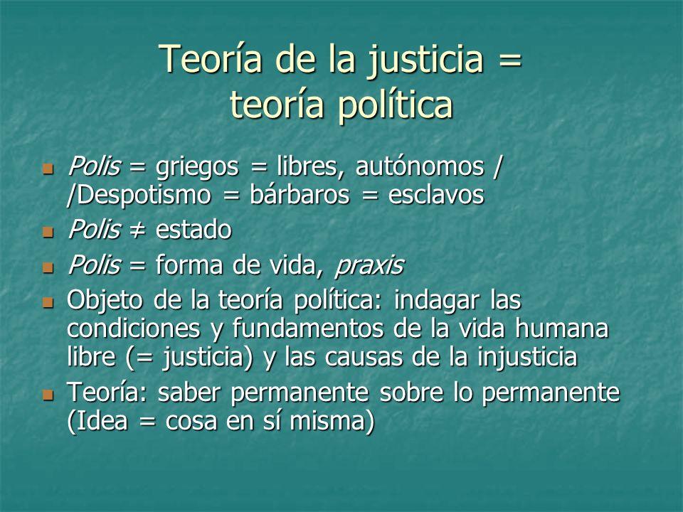Teoría de la justicia = teoría política Polis = griegos = libres, autónomos / /Despotismo = bárbaros = esclavos Polis = griegos = libres, autónomos /