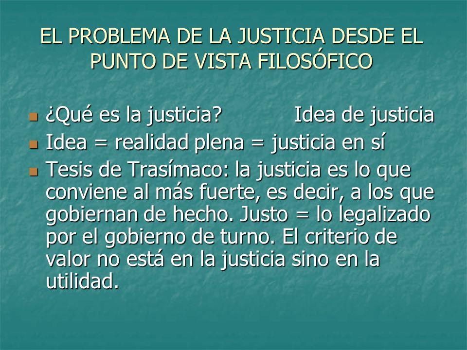EL PROBLEMA DE LA JUSTICIA DESDE EL PUNTO DE VISTA FILOSÓFICO ¿Qué es la justicia? Idea de justicia ¿Qué es la justicia? Idea de justicia Idea = reali