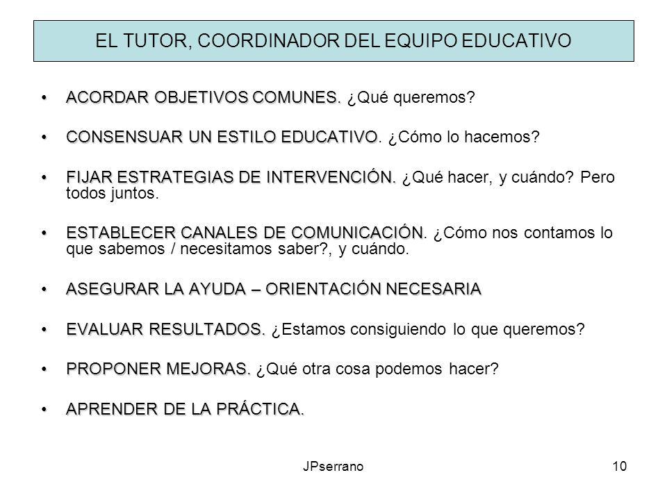 JPserrano10 EL TUTOR, COORDINADOR DEL EQUIPO EDUCATIVO ACORDAR OBJETIVOS COMUNES.ACORDAR OBJETIVOS COMUNES. ¿Qué queremos? CONSENSUAR UN ESTILO EDUCAT