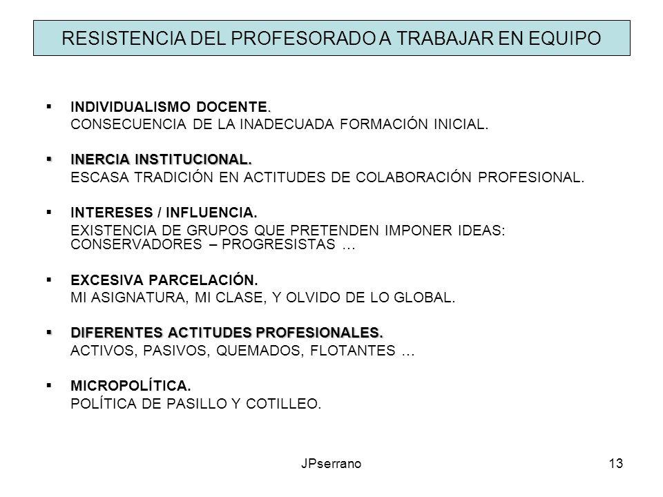 JPserrano13 RESISTENCIA DEL PROFESORADO A TRABAJAR EN EQUIPO. INDIVIDUALISMO DOCENTE. CONSECUENCIA DE LA INADECUADA FORMACIÓN INICIAL. INERCIA INSTITU