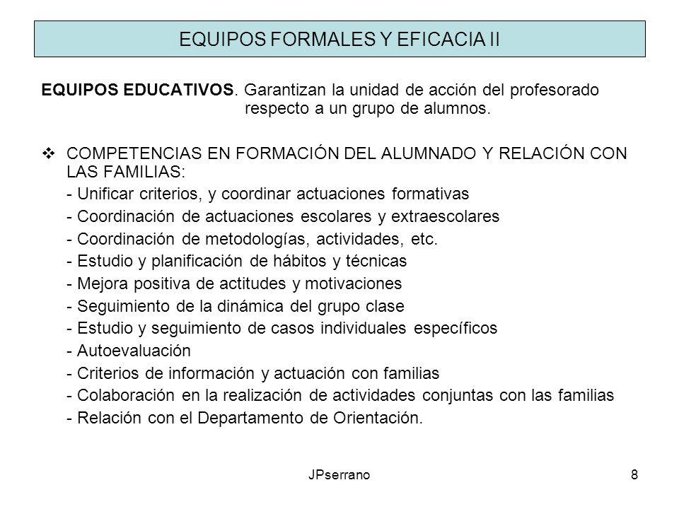 JPserrano8 EQUIPOS FORMALES Y EFICACIA II EQUIPOS EDUCATIVOS. Garantizan la unidad de acción del profesorado respecto a un grupo de alumnos. COMPETENC