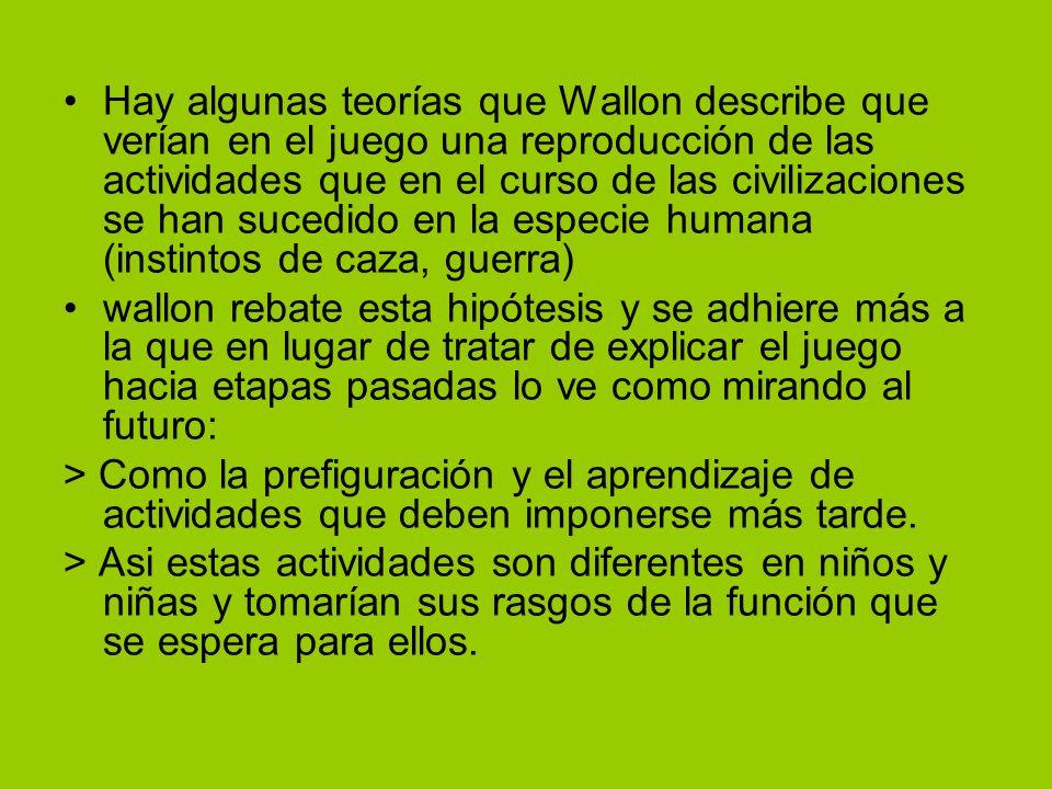Hay algunas teorías que Wallon describe que verían en el juego una reproducción de las actividades que en el curso de las civilizaciones se han sucedi