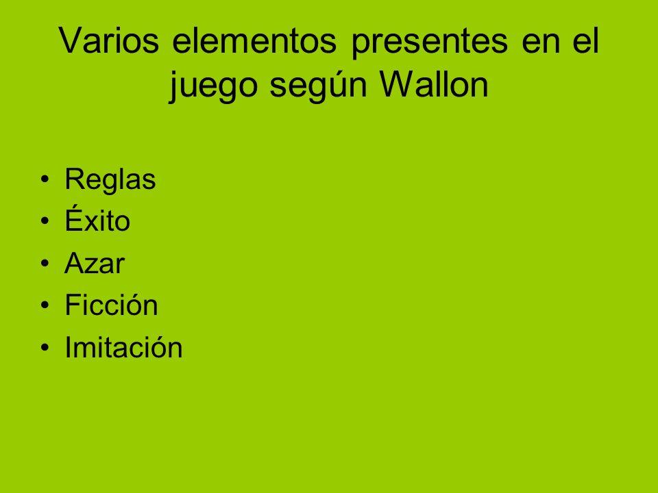 Varios elementos presentes en el juego según Wallon Reglas Éxito Azar Ficción Imitación