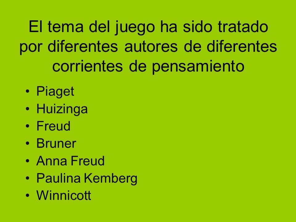 El tema del juego ha sido tratado por diferentes autores de diferentes corrientes de pensamiento Piaget Huizinga Freud Bruner Anna Freud Paulina Kembe