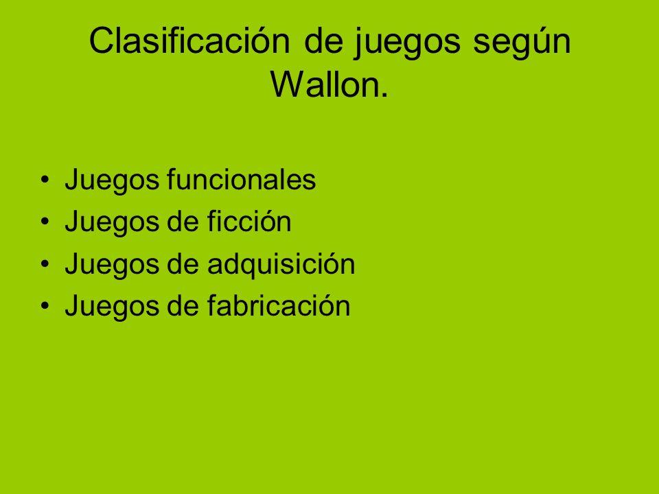 Clasificación de juegos según Wallon. Juegos funcionales Juegos de ficción Juegos de adquisición Juegos de fabricación