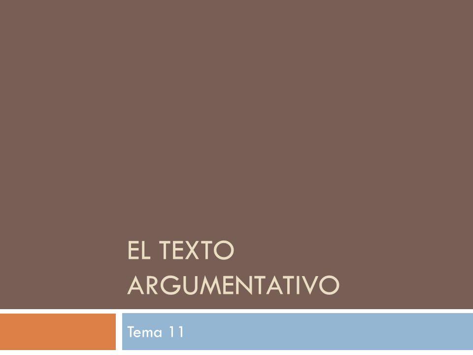 EL TEXTO ARGUMENTATIVO Tema 11