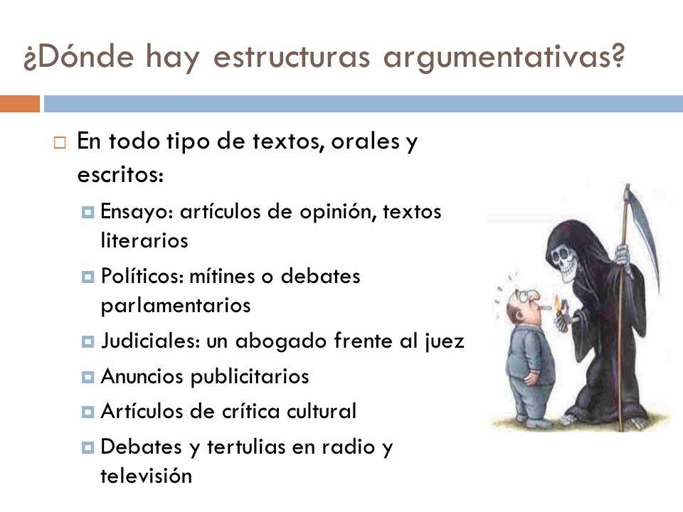 ¿Dónde hay estructuras argumentativas? En todo tipo de textos, orales y escritos: Ensayo: artículos de opinión, textos literarios Políticos: mítines o