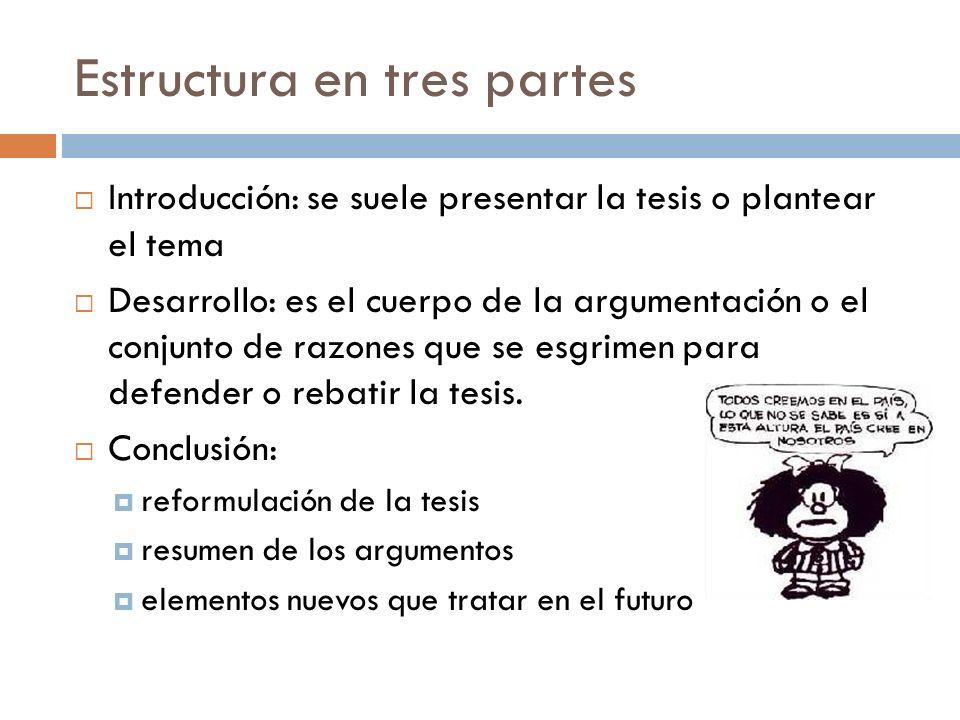 Estructura en tres partes Introducción: se suele presentar la tesis o plantear el tema Desarrollo: es el cuerpo de la argumentación o el conjunto de r