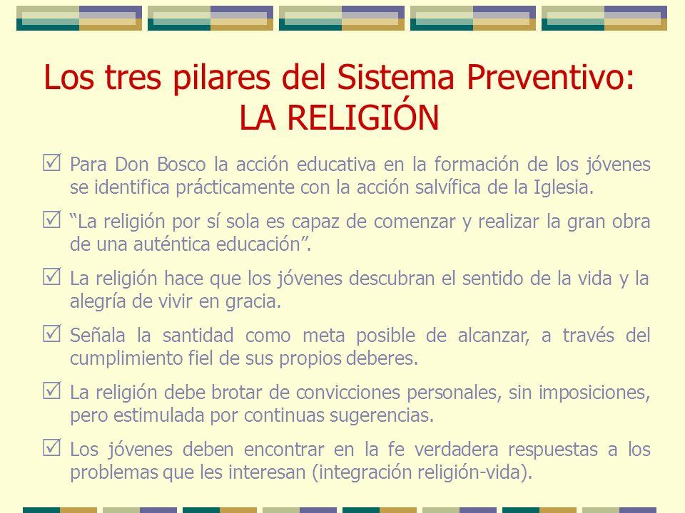 Para Don Bosco la acción educativa en la formación de los jóvenes se identifica prácticamente con la acción salvífica de la Iglesia. La religión por s