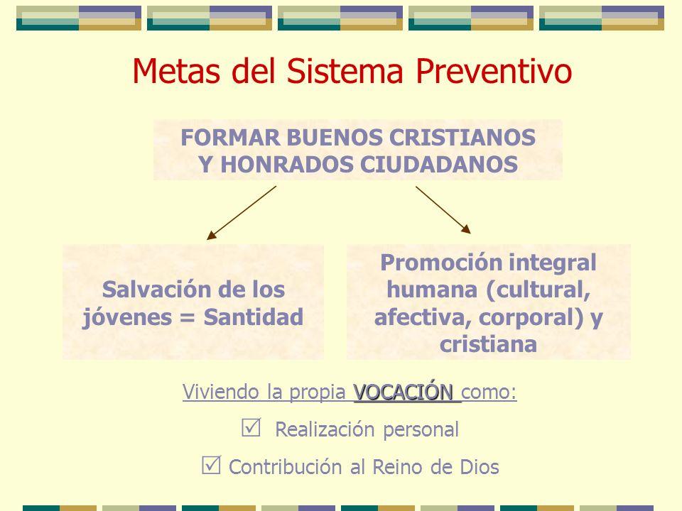 Metas del Sistema Preventivo VOCACIÓN Viviendo la propia VOCACIÓN como: Realización personal Contribución al Reino de Dios FORMAR BUENOS CRISTIANOS Y