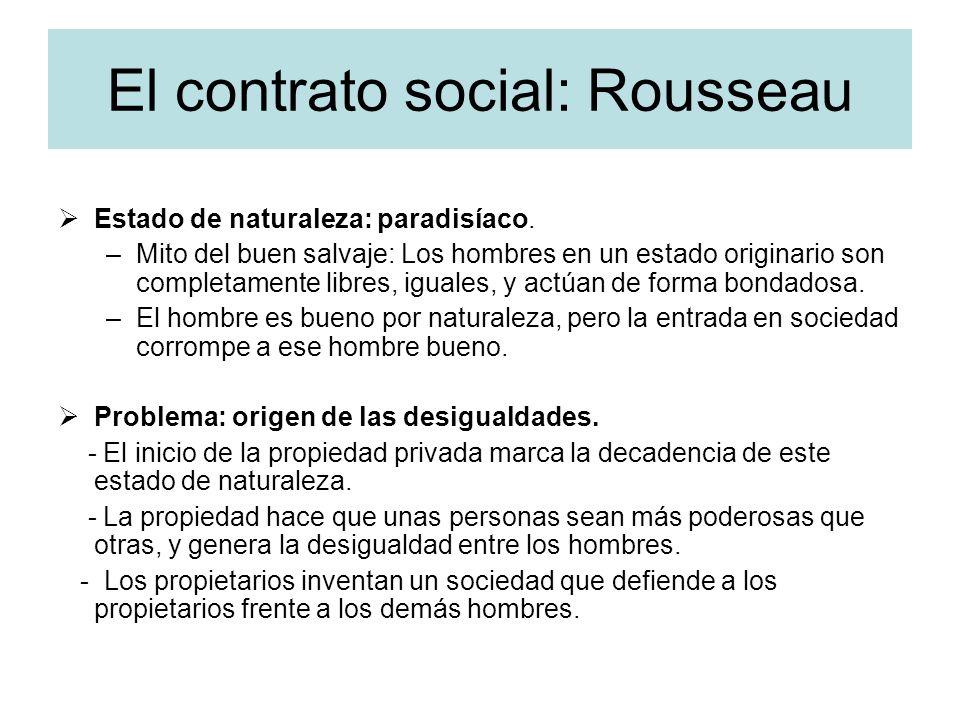 El contrato social: Rousseau Estado de naturaleza: paradisíaco. –Mito del buen salvaje: Los hombres en un estado originario son completamente libres,