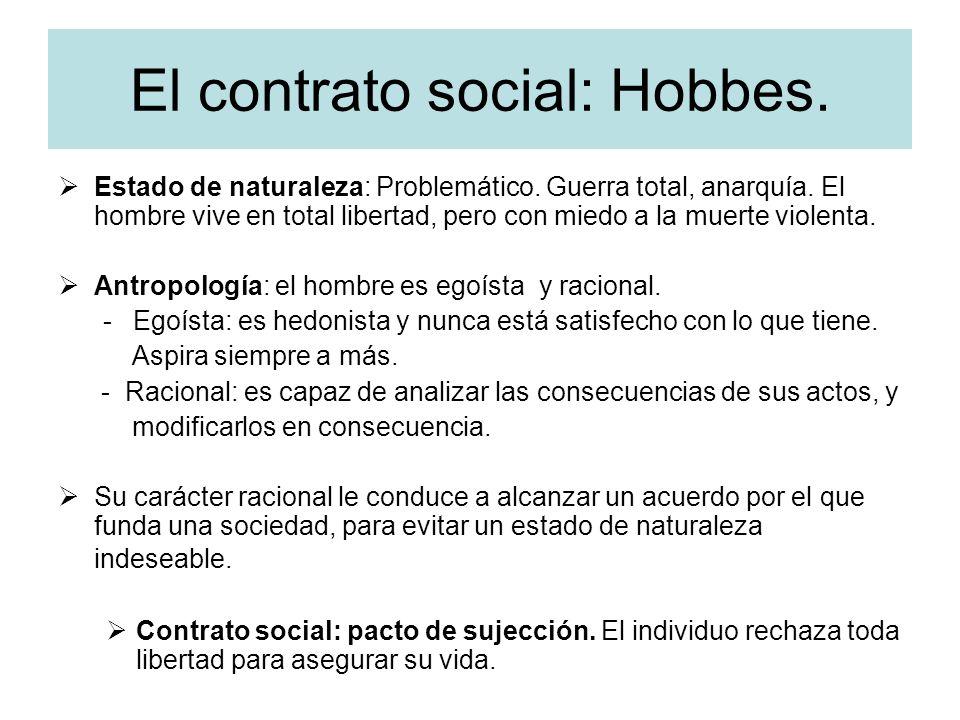 El contrato social: Hobbes. Estado de naturaleza: Problemático. Guerra total, anarquía. El hombre vive en total libertad, pero con miedo a la muerte v