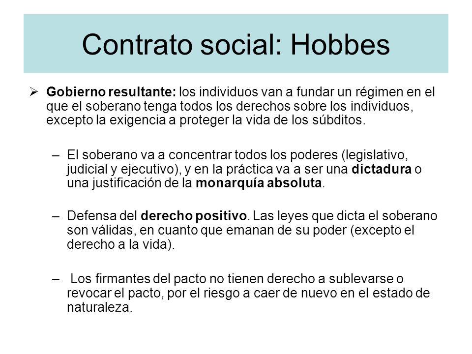 Contrato social: Hobbes Gobierno resultante: los individuos van a fundar un régimen en el que el soberano tenga todos los derechos sobre los individuo