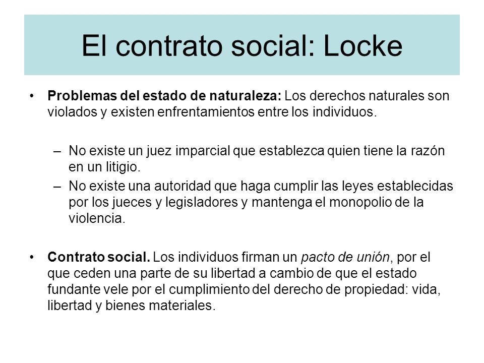 El contrato social: Locke Problemas del estado de naturaleza: Los derechos naturales son violados y existen enfrentamientos entre los individuos. –No