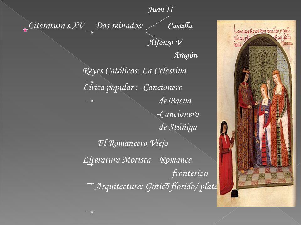 Juan II Literatura s.XV Dos reinados: Castilla Alfonso V Aragón Reyes Católicos: La Celestina Lírica popular : -Cancionero de Baena -Cancionero de Stú