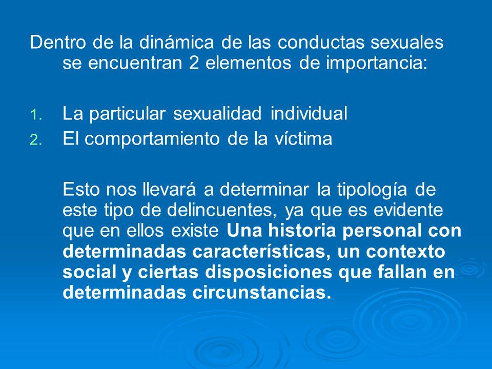 Dentro de la dinámica de las conductas sexuales se encuentran 2 elementos de importancia: 1. 1. La particular sexualidad individual 2. 2. El comportam