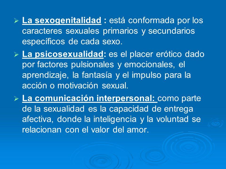 La sexogenitalidad : está conformada por los caracteres sexuales primarios y secundarios específicos de cada sexo. La psicosexualidad: es el placer er