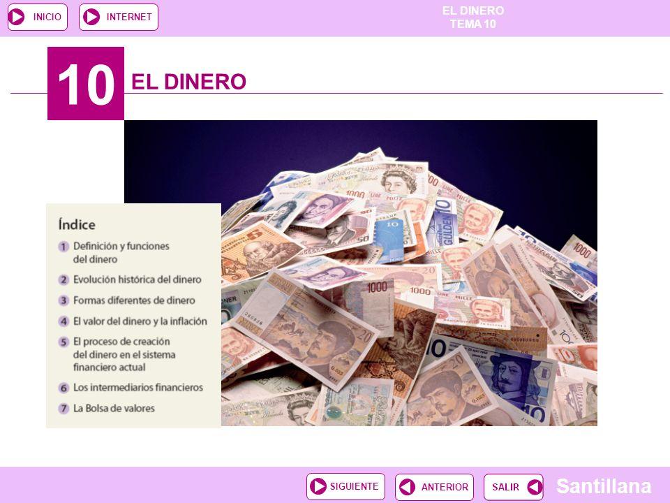 EL DINERO TEMA 10 Santillana ANTERIORSIGUIENTE INICIOINTERNET 10 EL DINERO