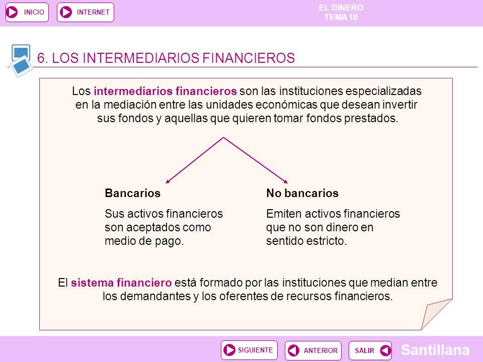 EL DINERO TEMA 10 Santillana ANTERIORSIGUIENTE INICIOINTERNET 6. LOS INTERMEDIARIOS FINANCIEROS Los intermediarios financieros son las instituciones e