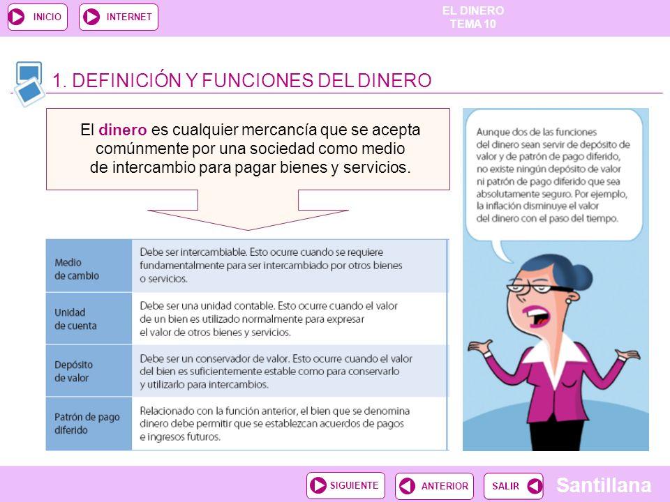 EL DINERO TEMA 10 Santillana ANTERIORSIGUIENTE INICIOINTERNET 7. LA BOLSA DE VALORES