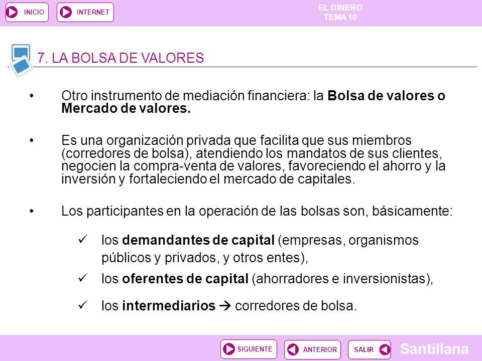 EL DINERO TEMA 10 Santillana ANTERIORSIGUIENTE INICIOINTERNET Otro instrumento de mediación financiera: la Bolsa de valores o Mercado de valores. Es u