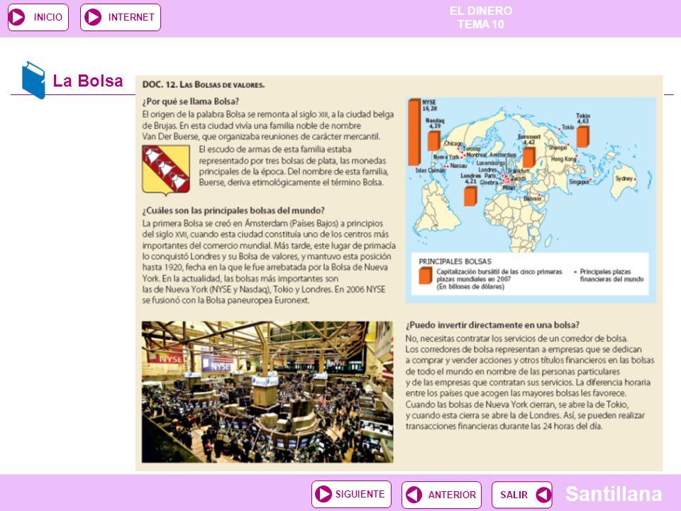 EL DINERO TEMA 10 Santillana ANTERIORSIGUIENTE INICIOINTERNET La Bolsa
