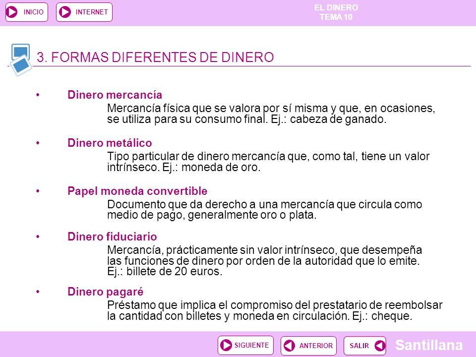 EL DINERO TEMA 10 Santillana ANTERIORSIGUIENTE INICIOINTERNET 6. LOS INTERMEDIARIOS FINANCIEROS Y…