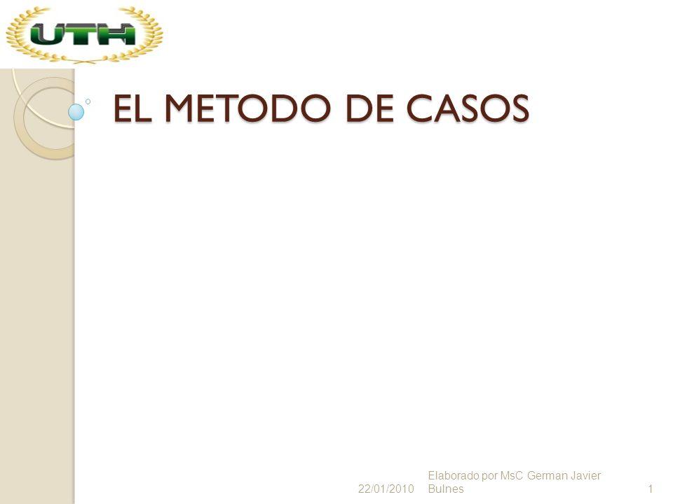 EL METODO DE CASOS 22/01/20101 Elaborado por MsC German Javier Bulnes