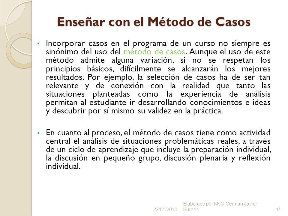 Enseñar con el Método de Casos Incorporar casos en el programa de un curso no siempre es sinónimo del uso del método de casos. Aunque el uso de este m