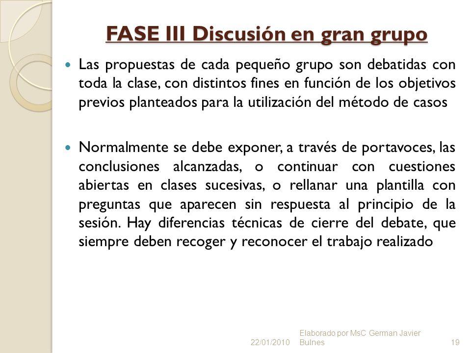 FASE III Discusión en gran grupo Las propuestas de cada pequeño grupo son debatidas con toda la clase, con distintos fines en función de los objetivos