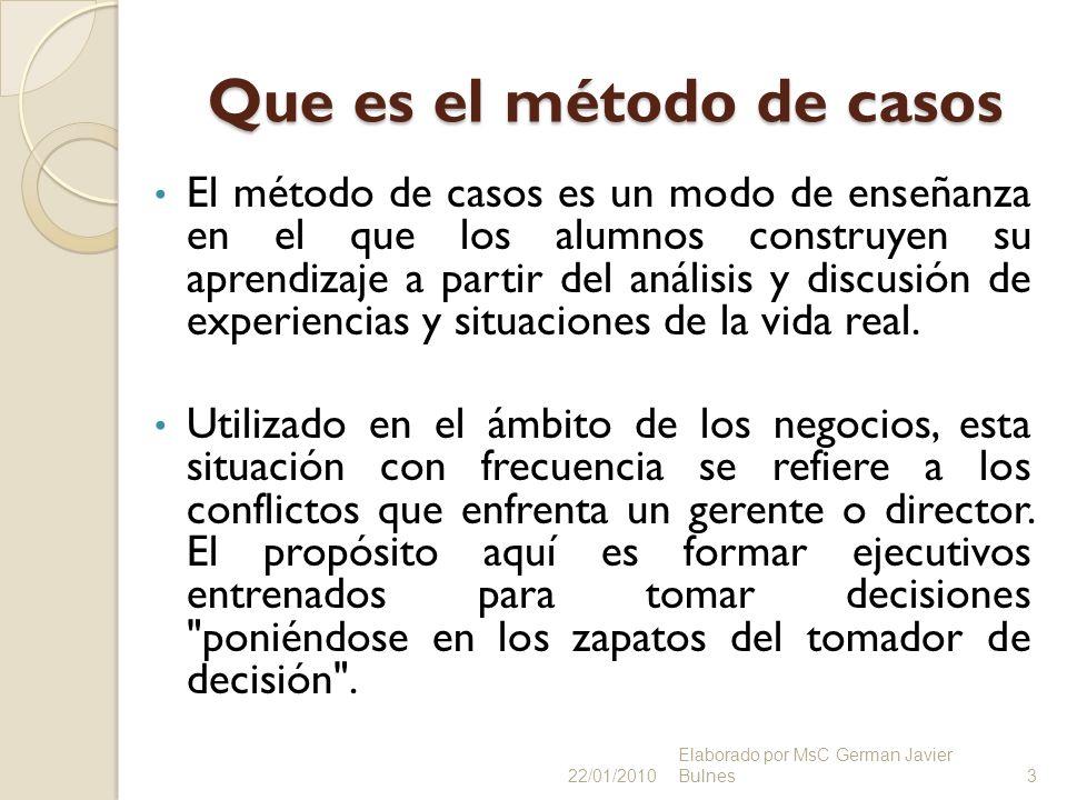 Que es el método de casos El método de casos es un modo de enseñanza en el que los alumnos construyen su aprendizaje a partir del análisis y discusión