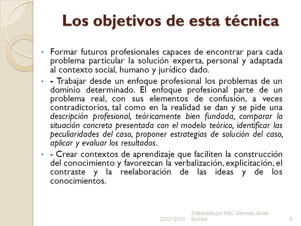 Los objetivos de esta técnica Formar futuros profesionales capaces de encontrar para cada problema particular la solución experta, personal y adaptada
