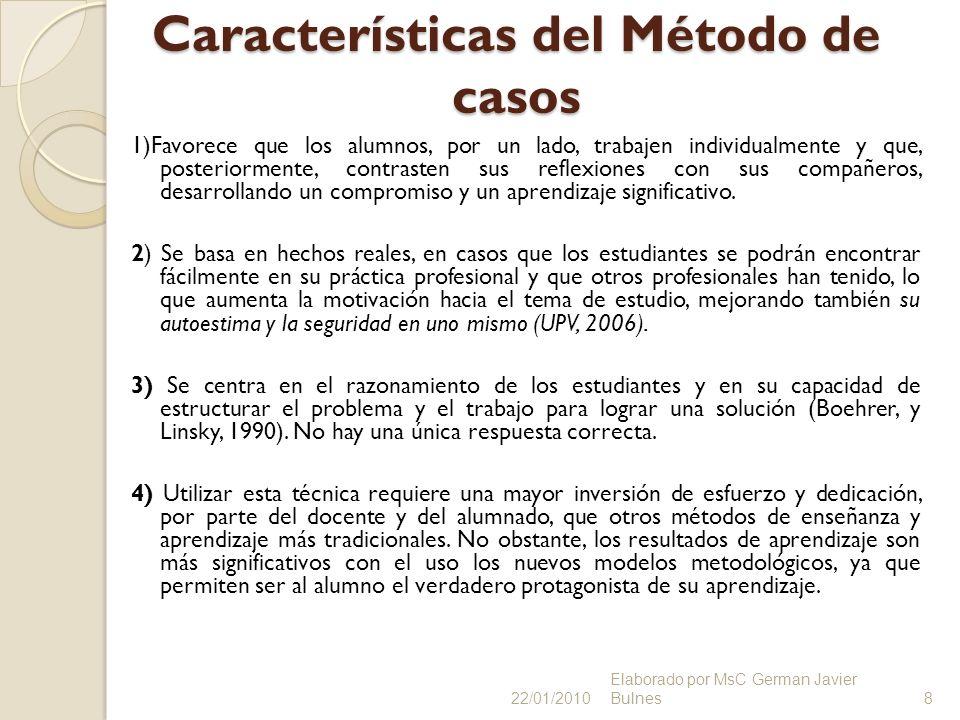 Características del Método de casos 1)Favorece que los alumnos, por un lado, trabajen individualmente y que, posteriormente, contrasten sus reflexione
