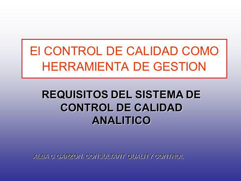 El CONTROL DE CALIDAD COMO HERRAMIENTA DE GESTION REQUISITOS DEL SISTEMA DE CONTROL DE CALIDAD ANALITICO ALBA C GARZON. CONSULTANT QUALITY CONTROL
