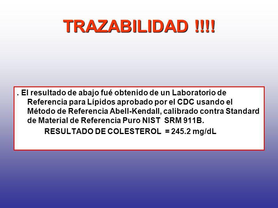 TRAZABILIDAD !!!!. El resultado de abajo fué obtenido de un Laboratorio de Referencia para Lípidos aprobado por el CDC usando el Método de Referencia