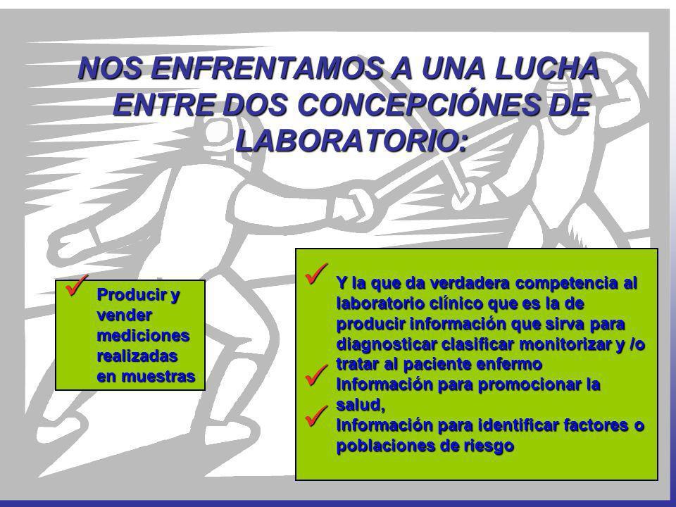 Y la que da verdadera competencia al laboratorio clínico que es la de producir información que sirva para diagnosticar clasificar monitorizar y /o tra